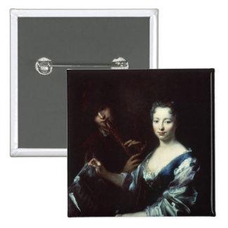 Señora que juega un spinet y un flautista pin cuadrada 5 cm