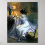Señora que lee una bella arte de la antigüedad de  posters