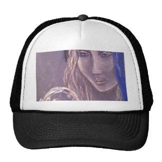 Señora que mira en la bola de cristal gorras
