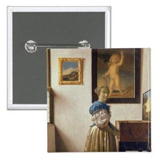 Señora que se coloca en el Virginal, c.1672-73 Pin Cuadrada 5 Cm
