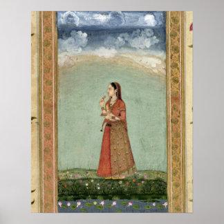 Señora que sostiene un cuenco de rosas, del pequeñ impresiones