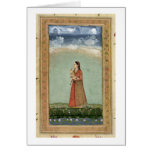 Señora que sostiene un cuenco de rosas, del pequeñ tarjeta de felicitación