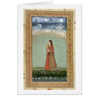 Señora que sostiene un cuenco de rosas, del pequeñ felicitacion