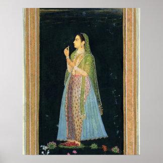 Señora que sostiene un flor, del pequeño álbum de  póster