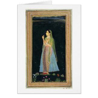 Señora que sostiene un flor, del pequeño álbum de  tarjetón