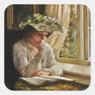 Señora Reading por la ventana Pegatinas Cuadradas Personalizadas