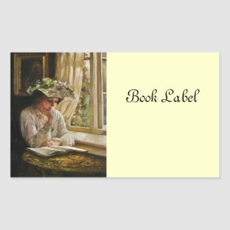 Señora Reading por la ventana Pegatina Rectangular