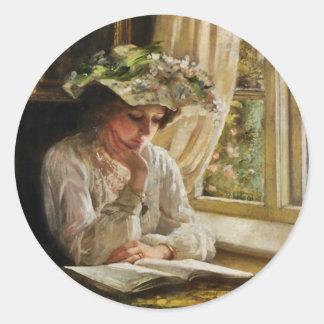Señora Reading por la ventana Pegatina Redonda