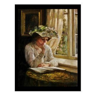 Señora Reading por la ventana Postal