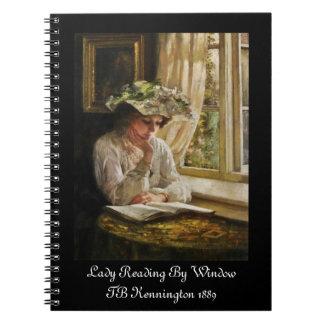Señora Reading por la ventana Spiral Notebooks