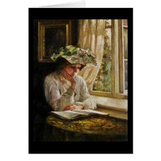 Señora Reading por la ventana Tarjeta De Felicitación