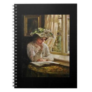 Señora Reading por una ventana Spiral Notebooks