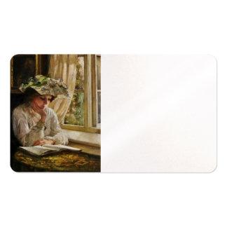 Señora Reading por una ventana Tarjetas De Visita