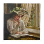 Señora Reading por una ventana Tejas Ceramicas