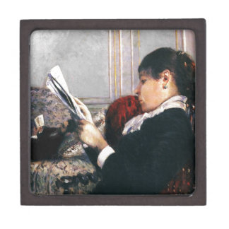 Señora Reading un periódico 1880