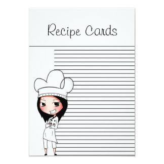"""Señora Recipe Cards del cocinero Invitación 5"""" X 7"""""""