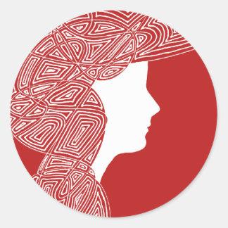 Señora Red Stickers Pegatinas Redondas