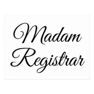Señora Registrar Tarjetas Postales