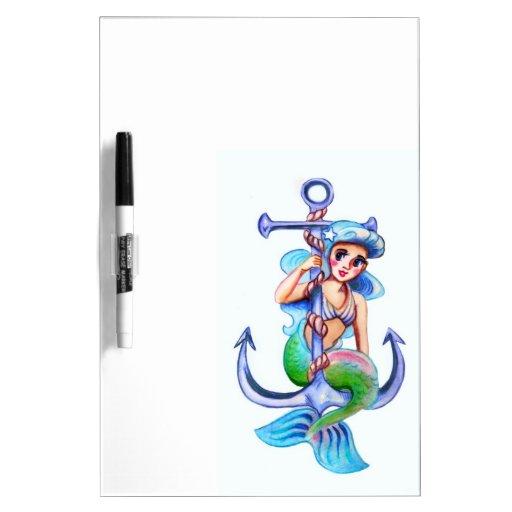 Señora retra azul náutica de la sirena tablero blanco