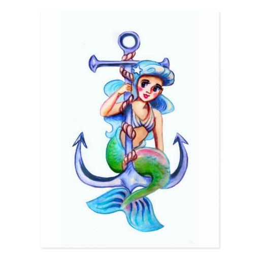 Señora retra azul náutica de la sirena postal