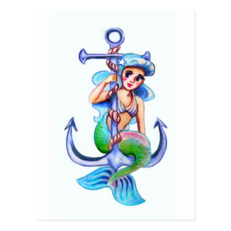 Señora retra azul náutica de la sirena tarjetas postales