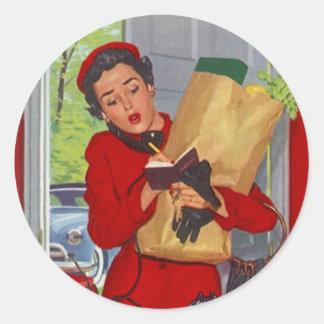 Señora retra de moda y vida del pegatina en el