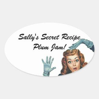 Señora retra Home Canning Secret Recipe del Pegatina Óval Personalizadas