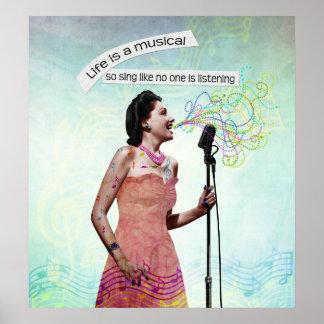 Señora retra Life Is A Musical canta el poster