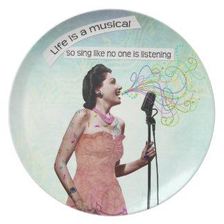 Señora retra Life Is A Musical canta la placa deco Platos Para Fiestas