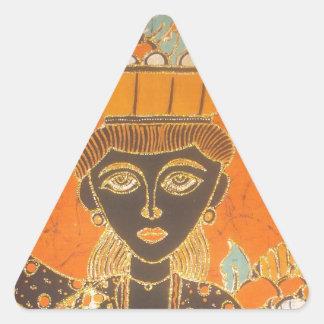 Señora retra linda Portrait.jpg del vintage de Van Pegatina Triangular