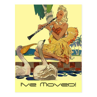 Señora retra Pool Side Swans Tropic del vintage de Postales