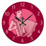 Señora retra rosada del acordeón reloj