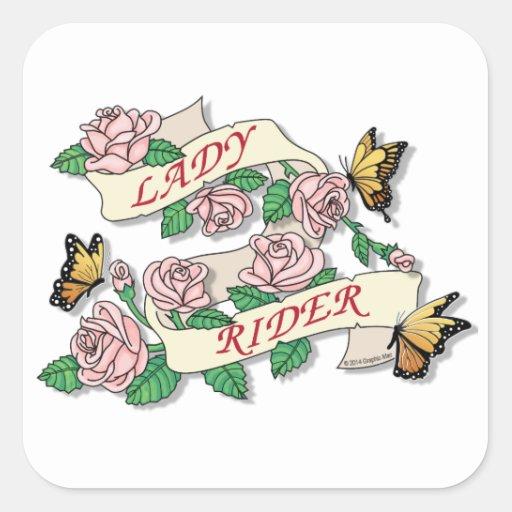 Señora Rider Calcomanías Cuadradas