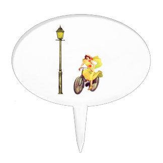 señora Riding Bike de los años 20 Figuras Para Tartas
