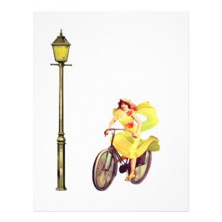 señora Riding Bike de los años 20 Membretes Personalizados