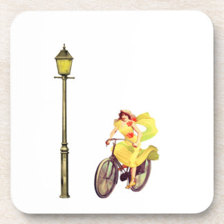 señora Riding Bike de los años 20 Posavasos De Bebida