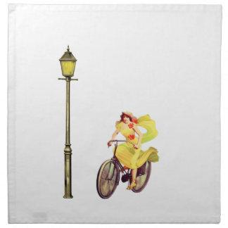 señora Riding Bike de los años 20 Servilleta