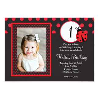 Señora roja Bug Birthday Invitation Invitación