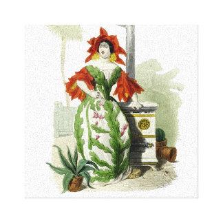 Señora roja de la flor impresiones en lienzo estiradas