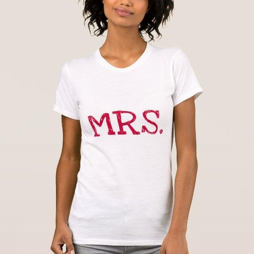Señora roja del texto de la novia camiseta