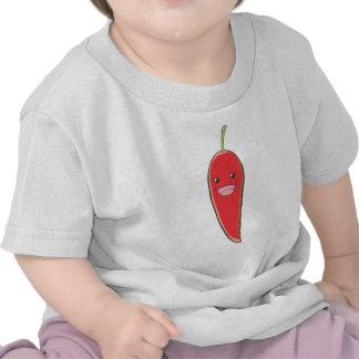 Señora roja feliz Vegetable del chile Camisetas
