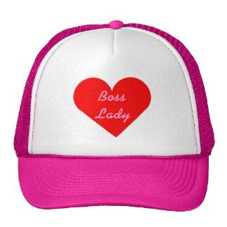 Señora roja Hat de Boss del corazón Gorras De Camionero
