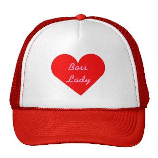 Señora roja Hat de Boss del corazón Gorros Bordados