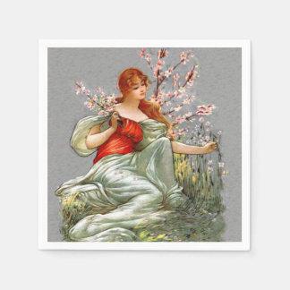 Señora roja Pink Flowers Flowing Gown del pelo del Servilletas De Papel