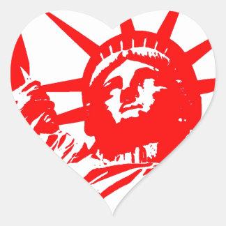 Señora roja y blanca Liberty del arte pop Pegatina En Forma De Corazón