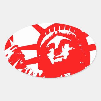 Señora roja y blanca Liberty del arte pop Pegatina Ovalada