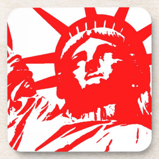 Señora roja y blanca Liberty del arte pop Posavasos