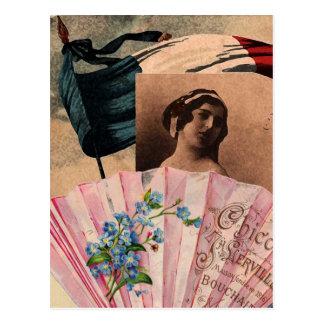 Señora romántica de la bandera de la fan elegante postales