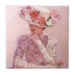 Señora romántica del Victorian Azulejo Ceramica