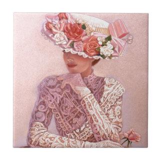 Señora romántica del Victorian Azulejo Cuadrado Pequeño